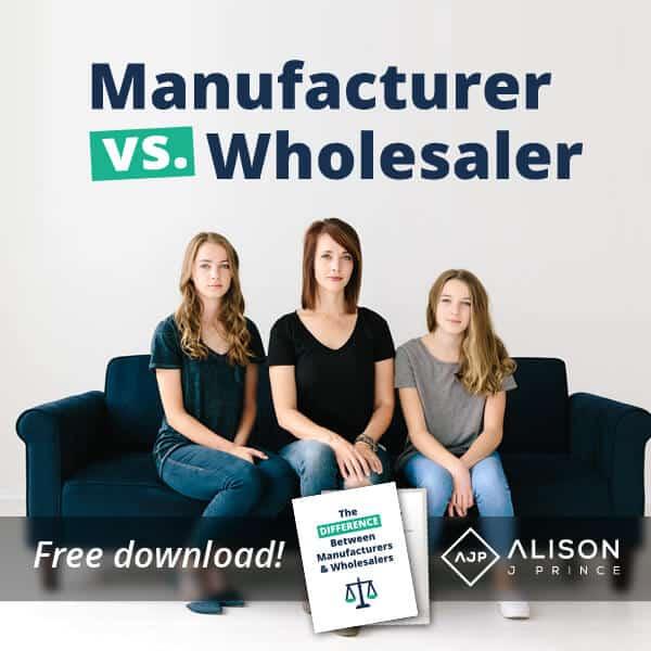Ecommerce manufacturer vs. wholesaler; online business tip from Alison Prince